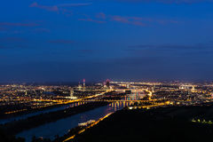 Vienna, aerial view at night Stock Images