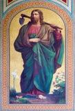 Vienna - affresco di Jesus Christ come giardiniere da Karl von Blaas a partire dall'anno 1858 nella navata della chiesa di Altlerc Immagine Stock Libera da Diritti