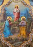 Vienna - affresco santo della famiglia nella chiesa delle Carmelitane immagini stock libere da diritti
