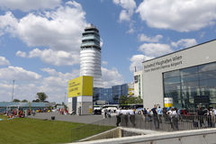 Vienna airport. Vienna, Austria - may 27, 2017 -  tower of air traffic control  and train station in Vienna Airport