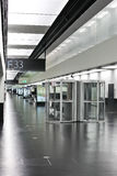 Vienna airport hall with smokers cabin Royalty Free Stock Photography