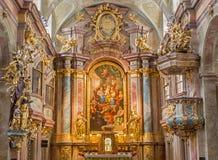 Vienna - altare della chiesa della st Annes di barocco Fotografie Stock Libere da Diritti