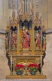 Vienna - altare scolpito gotico nella cappella della st Katherine nella cattedrale o in Stephansdom della st Stephens. Immagine Stock Libera da Diritti