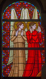Vienna - Angels on the windowpane in Carmelites church in Dobling Royalty Free Stock Images