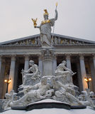Vienna - Athena fountain in winter Royalty Free Stock Photography