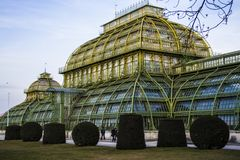 Vienna, Austria 1° marzo 2019 Costruzione di una serra delle erbe e dei fiori La costruzione di vetro con le inserzioni di verde  fotografie stock