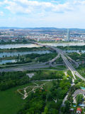 Vienna, Austria aerial view. Vienna - Wien city panorama with major freeway intersection and the Danube river, taken from the television Donau Tower stock images