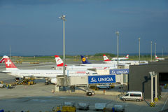 VIENNA, AUSTRIA - APR 30th, 2017: Airplanes of Austrian Airlines, SWISS and Lufthansa parked at the gates in Vienna Stock Images