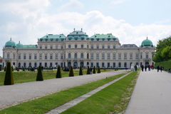 VIENNA, AUSTRIA - APR 30th, 2017: Beautiful building of upper Belvedere Palace on a sunny day with blue sky and clouds Stock Images