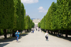 VIENNA, AUSTRIA - APR 30th, 2017: Public park in Schonbrunn Palace Schonbrunn Palace. It`s a former imperial 1441-room Stock Photo