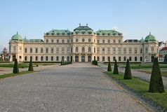 Belvedere Palace and the palace garden in Vienna, Austria Royalty Free Stock Photos