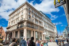 Carinthian Street the most famous shopping street in central Vienna. VIENNA, AUSTRIA - APRIL, 2018: Carinthian Street the most famous shopping street in central royalty free stock image