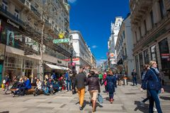 Carinthian Street the most famous shopping street in central Vienna. VIENNA, AUSTRIA - APRIL, 2018: Carinthian Street the most famous shopping street in central stock images