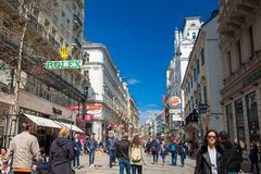 Carinthian Street the most famous shopping street in central Vienna. VIENNA, AUSTRIA - APRIL, 2018: Carinthian Street the most famous shopping street in central royalty free stock photos