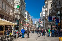 Carinthian Street the most famous shopping street in central Vienna. VIENNA, AUSTRIA - APRIL, 2018: Carinthian Street the most famous shopping street in central stock photo