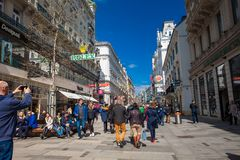 Carinthian Street the most famous shopping street in central Vienna. VIENNA, AUSTRIA - APRIL, 2018: Carinthian Street the most famous shopping street in central stock image