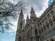Vienna/Austria - April 2015: Clock tower of the Town Hall in Vie royalty free stock photos