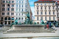 VIENNA, AUSTRIA - APRIL 24, 2016: Donnerbrunnen fountain at Neuer Markt square Royalty Free Stock Image