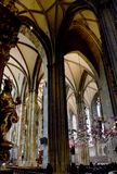 Interior of Stephansdom St Stephen`s Cathedral, Vienna, with Peter Baldinger Sky of Stones installation stock images