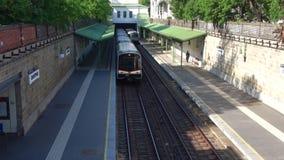 Metro trains at the station `Shtadtpark`. Vienna, Austria. VIENNA, AUSTRIA - APRIL 25, 2018: Metro trains at the station `Shtadtpark stock footage