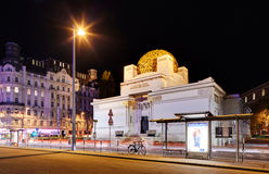 VIENNA, AUSTRIA - APRIL 24: The Secession Building, an Exhibitio. N Hall for Contemporary Art shown on April 24, 2015 in Vienna, Austria. Night view Stock Photo