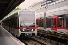 The subway train arrives on the Taliastrasse station. Metro lne U6, Vienna royalty free stock photos