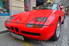 Vintage bmw car. Vienna, Austria - April 5, 2015: A vintage red BMW car parked on the streets of Vienna. Shot taken on April 5th, 2015 Stock Photos