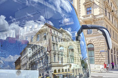 Vienna, Austria - August 14, 2016: Buildings reflection in a tou Royalty Free Stock Photo