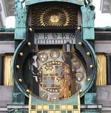 Vienna, Austria - August 26, 2014: famous ancient clock called a royalty free stock photos