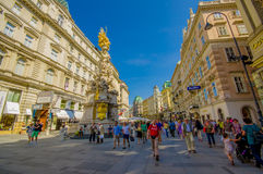 Vienna, Austria - 11 August, 2015: Famous magnificent Pestsaule monument with spectaclar details located in Graben, city Royalty Free Stock Photo