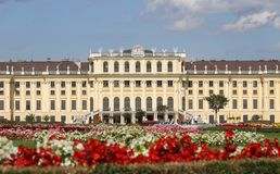 VIENNA,AUSTRIA - August 25 Garden of  SchonBrunn Palace with flo Royalty Free Stock Photography