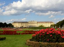 VIENNA,AUSTRIA - August 25 Garden of  SchonBrunn Palace with red Royalty Free Stock Image