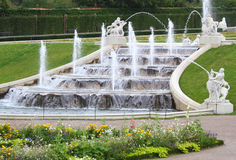 Vienna, Austria - August 27, 2014: Gardens and fountain of Belve Stock Images