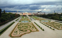 Vienna, Austria - August 27, 2014: Gardens and fountain of Belve Stock Photography