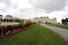 Vienna, Austria - August 27, 2014: Gardens and fountain of Belve Royalty Free Stock Image