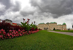 Vienna, Austria - August 27, 2014: Gardens and fountain of Belve Royalty Free Stock Photos