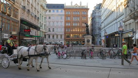 VIENNA - AUSTRIA, AUGUST 2015: horse cart passing, old city stock footage