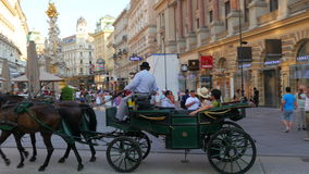 VIENNA - AUSTRIA, AUGUST 2015: horse cart passing, old town stock footage
