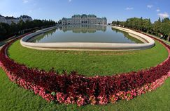 Vienna ,AUSTRIA - August 28 Lake and Garden of BELVEDERE Palace o Stock Photo