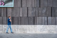 An with smartphone against facade of Mumok Museum Royalty Free Stock Images