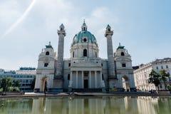 Outdoor view of Karlskirche in Karlsplatz in Vienna Stock Photos