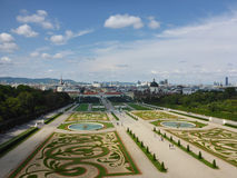 Vienna, Austria - August 4, 2014: photo taken from upper floor of Belvedere Palace showing its landscaped gardens, fountains, Vien Stock Image