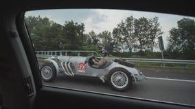 Vienna, Austria - August 13, 2018: Retro cars on the roads of Austria. Retro cars on the roads of Austria stock footage