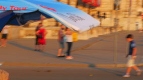 VIENNA - AUSTRIA, AUGUST 2015: rickshaw carry passangers, hofburg palace stock video footage