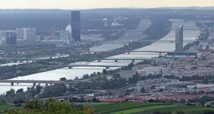 Vienna, Austria - August 24, 2014: skyscraper and the Danube riv stock images