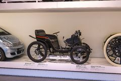The technical museum in Vienna exhibits the exposition presents the history of the development of vehicles and motorbikes moped bi. VIENNA, AUSTRIA - 24 AUGUST Stock Photos