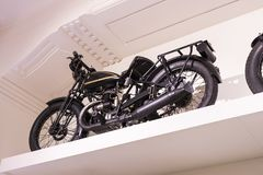The technical museum in Vienna exhibits the exposition presents the history of the development of vehicles and motorbikes moped bi. VIENNA, AUSTRIA - 24 AUGUST Royalty Free Stock Images