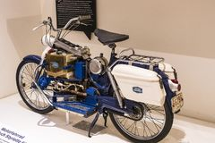 The technical museum in Vienna exhibits the exposition presents the history of the development of vehicles and motorbikes moped bi. VIENNA, AUSTRIA - 24 AUGUST Royalty Free Stock Image