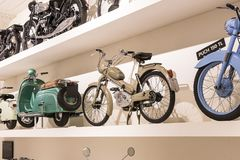 The technical museum in Vienna exhibits the exposition presents the history of the development of vehicles and motorbikes moped bi Royalty Free Stock Photos