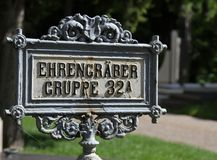 Vienna, Austria - August 24, 2014: text Ehrengraber gruppe 32a t. Vienna, Austria - August 24, 2014:  Signal in cemetery with text Ehrengraber gruppe 32a that stock photo